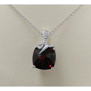 Garnet Pendant with Diamond Accents