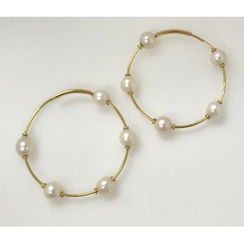 18k 35mm Hoops with Pearls