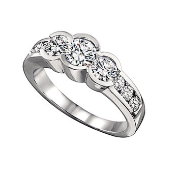 Three Stone Diamond Ring with Accent Diamonds 1.50 ctw HDR1324