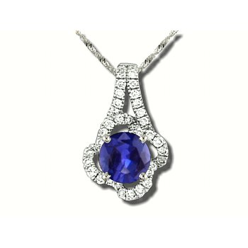 18K WG Fine Sapphire and Diamond Pendant, GJJ81-R3230-P