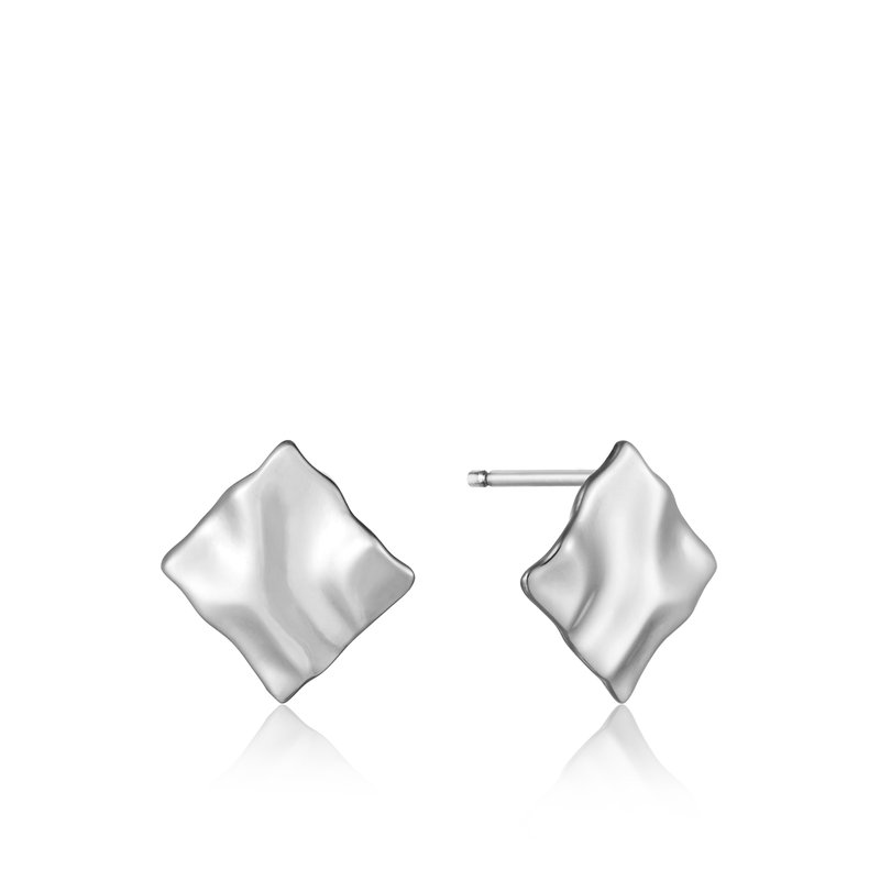 ANIA HAIE Silver Crush Mini Square Stud Earrings