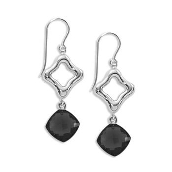 Open Frame with Onyx Drop earrings