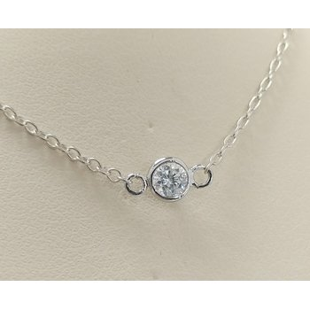 Sterling Silver Bezel Set CZ Necklace