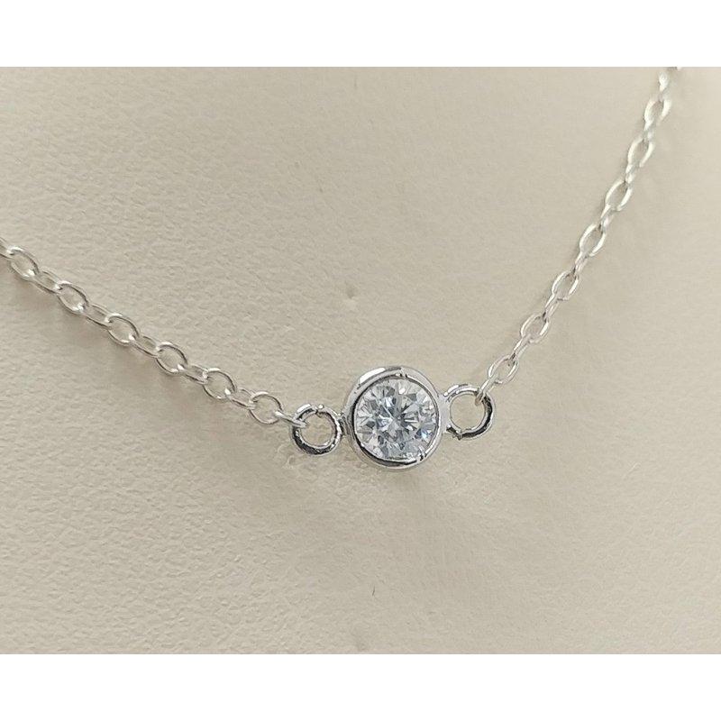 Showcase Collection Sterling Silver Bezel Set CZ Necklace