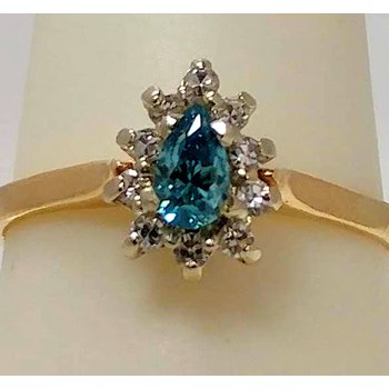 blue Pear shaped Diamond Cluster Ring