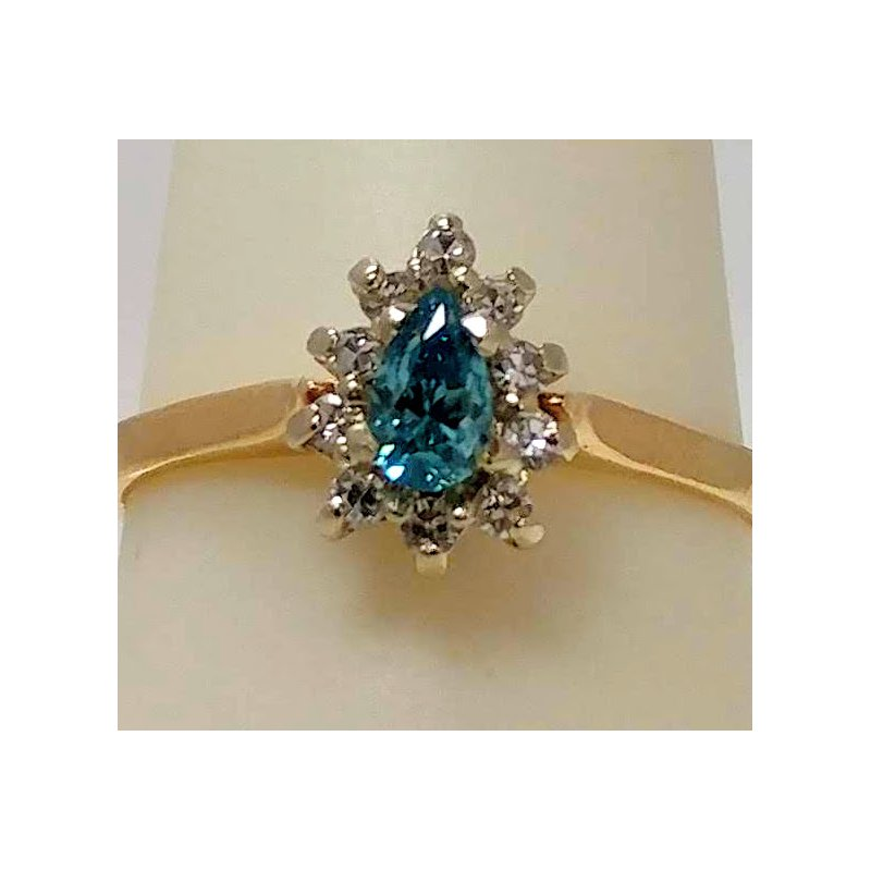 Estate Specials blue Pear shaped Diamond Cluster Ring