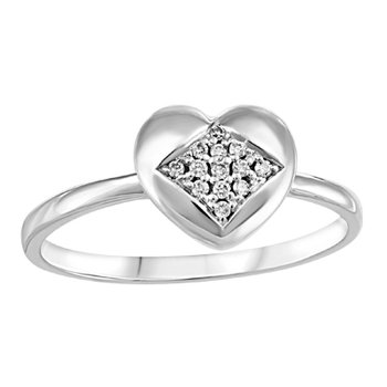 10KW Heart Shaped Ring with Diamond Accents