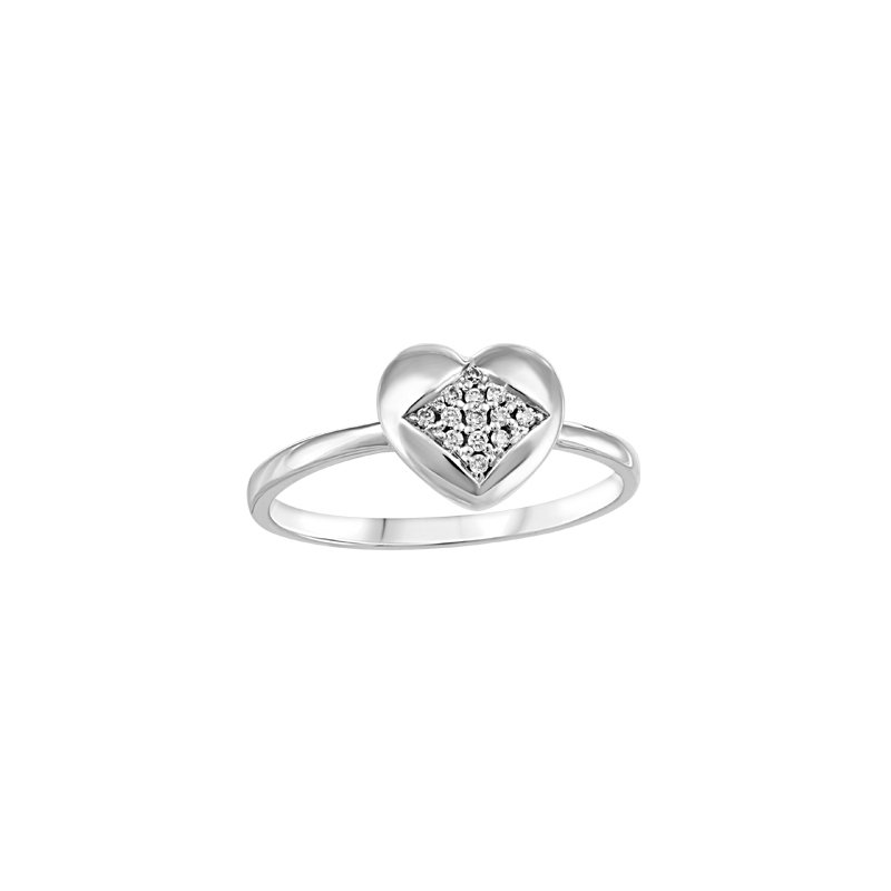 Showcase Collection 10KW Heart Shaped Ring with Diamond Accents