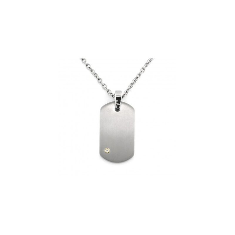 Showcase Collection Gent's Titanium Dog Tag with Diamond Accent