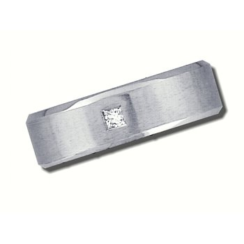 Mens 14K White Gold 6mm wide Wedding Band with .07ct Square Diamond