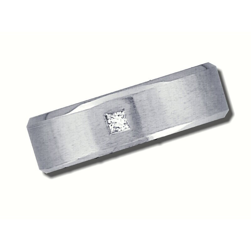 Grandis Signature Mens 14K White Gold 6mm wide Wedding Band with .07ct Square Diamond