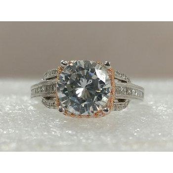 14K White & Rose Semi Set Engagement Ring