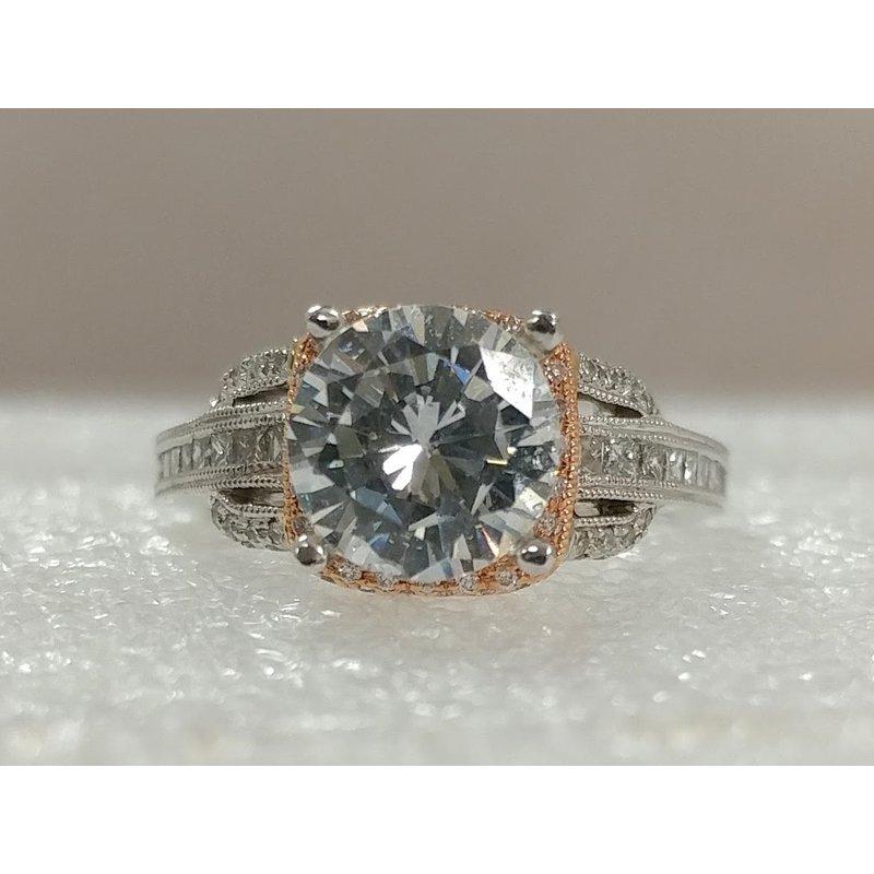 Showcase Collection 14K White & Rose Semi Set Engagement Ring