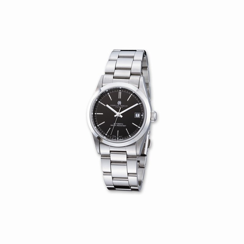 Charles Hubert Stainless Steel Watch with Black Dial