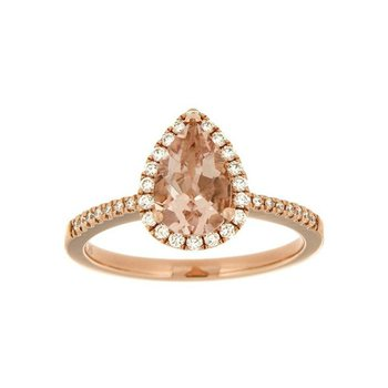 Pear Shape Morganite Halo Ring