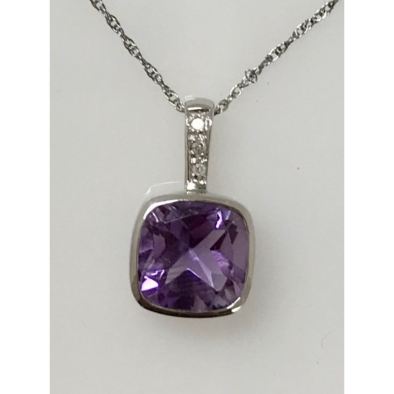 Showcase Collection Cushion Cut Amethyst Pendant