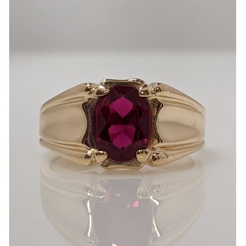 10KY Synthetic Ruby Ring