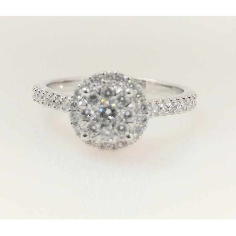 Showcase Collection 14KW Halo Engagement Ring with Mutli Stone Center