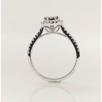 14KW Halo Engagement Ring with Mutli Stone Center