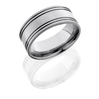 Men's 10mm Titanium Band with 0.5mm Side Grooves 10F4SG
