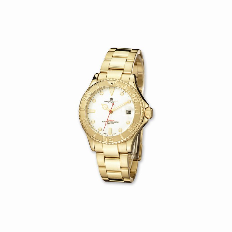 Charles Hubert IP Gold Plated Stainless steel White Dial Watch