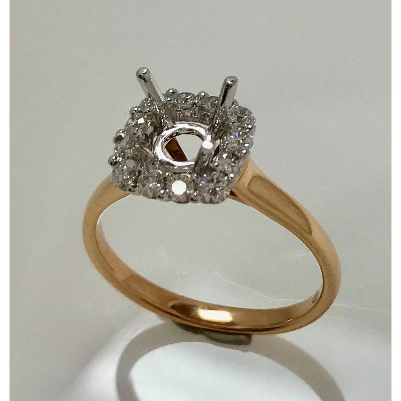 Showcase Collection 18K Rose & White Gold Halo Semi Set Engagement Ring