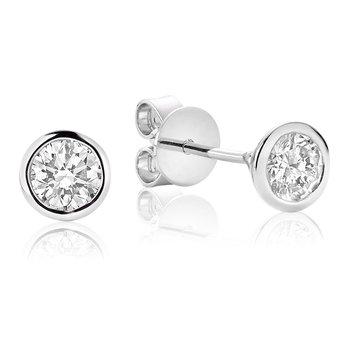 14KW Bezel Set Diamond Earrings