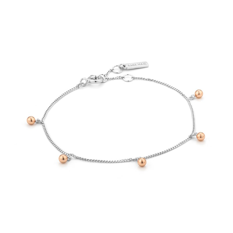 ANIA HAIE Sterling Bracelet with Rose Gold Plated Accents