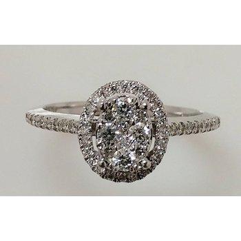 14KW Oval Multi Stone Halo Engagement Ring