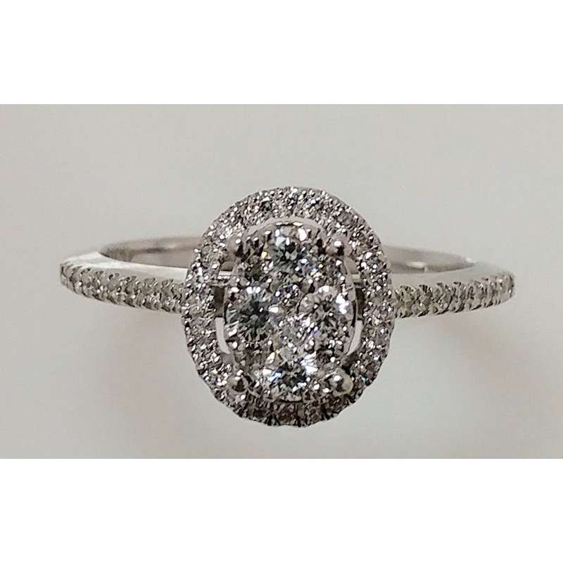 Showcase Collection 14KW Oval Multi Stone Halo Engagement Ring