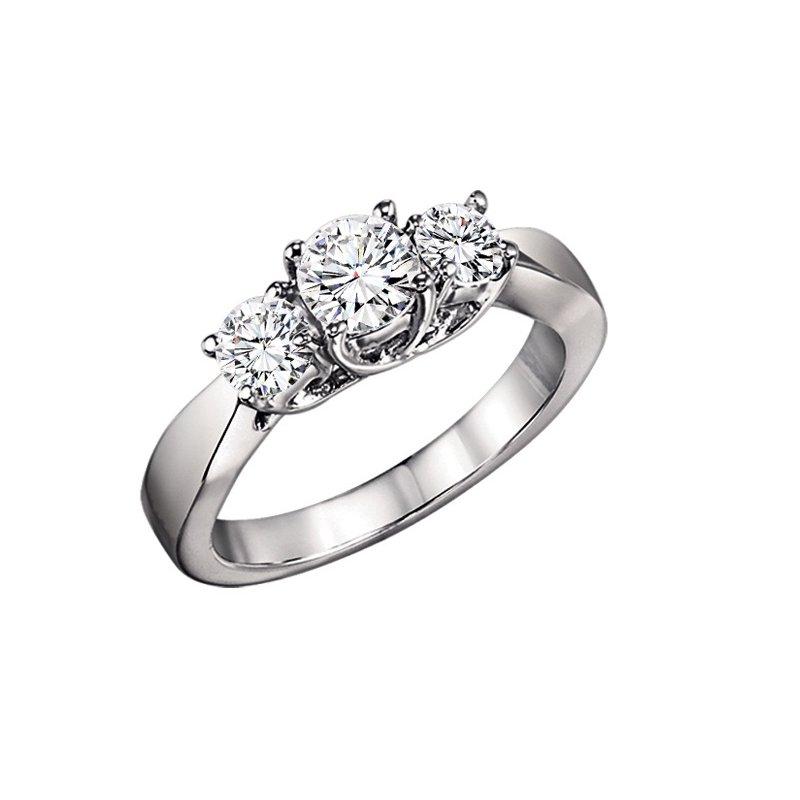 Grandis Signature 1/4 ctw Three Stone Diamond Ring in 14K White Gold/3C355