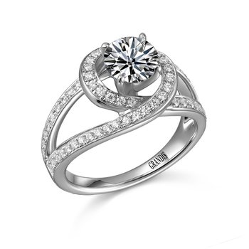 Grandis Diamond Solitaire Engagement Ring Mount 14K Prong Set 0.44 ctw ER9262