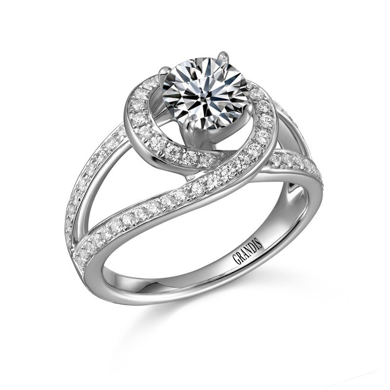 Grandis Signature Grandis Diamond Solitaire Engagement Ring Mount 14K Prong Set 0.44 ctw ER9262