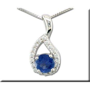 14K WG Blue Sapphire and Diamond Pendant, GJPCC083S13WI-CH