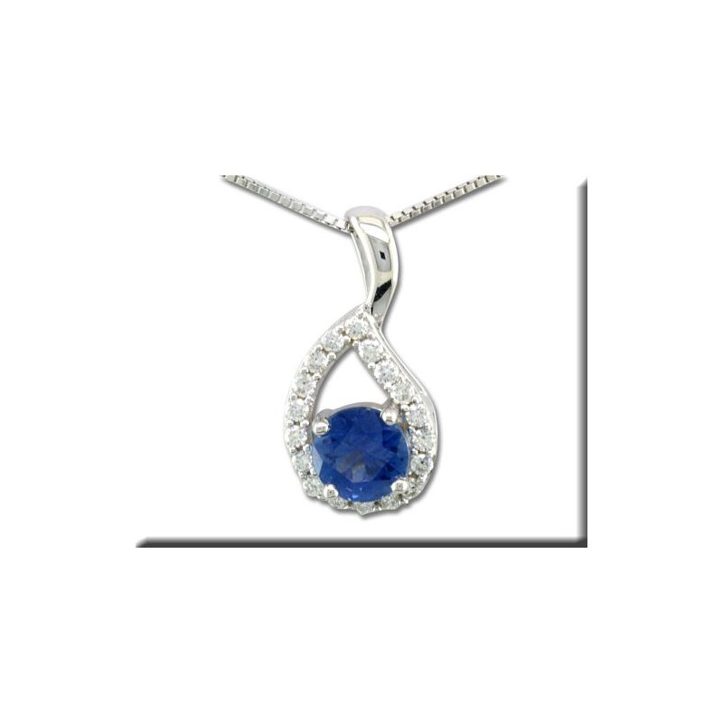 Grandis Signature 14K WG Blue Sapphire and Diamond Pendant, GJPCC083S13WI-CH