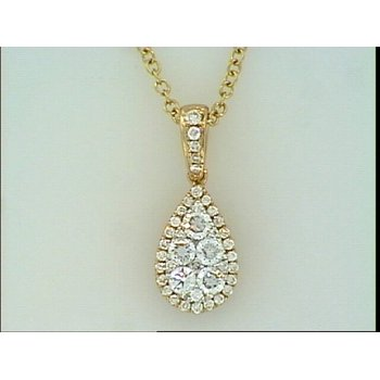 14KR Tear Drop Shape Diamond Pendant