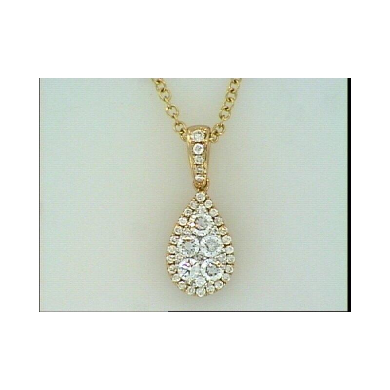 Showcase Collection 14KR Tear Drop Shape Diamond Pendant