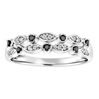 10KW White and Black Diamond Ring