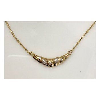 18KY CZ neckpiece on singapore chain
