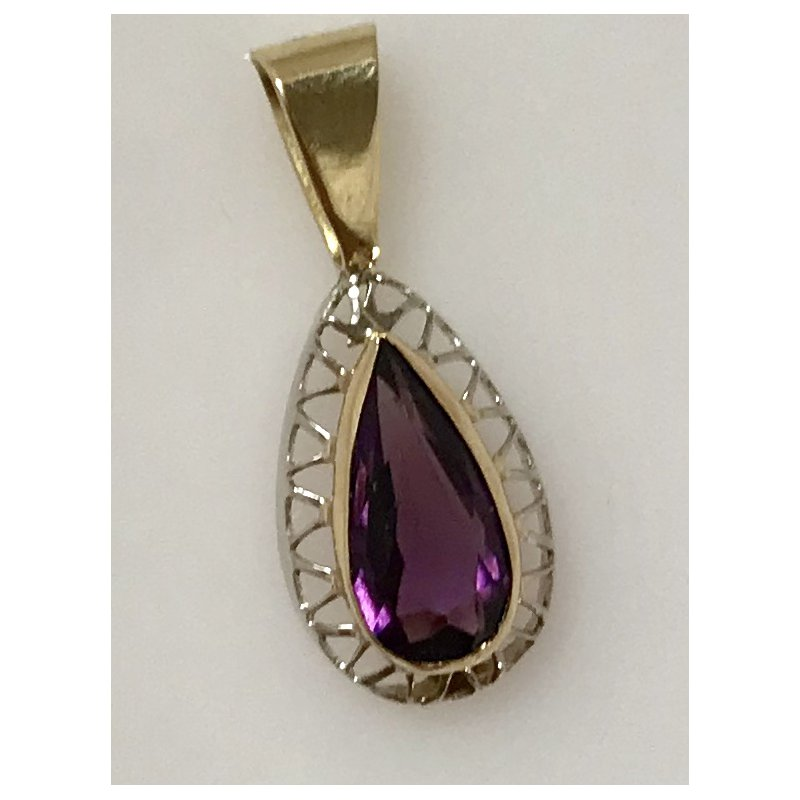 Estate Specials 10K Two Tone Synthetic Amethyst Pendant