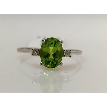 Peridot Ring with Diamond Accents