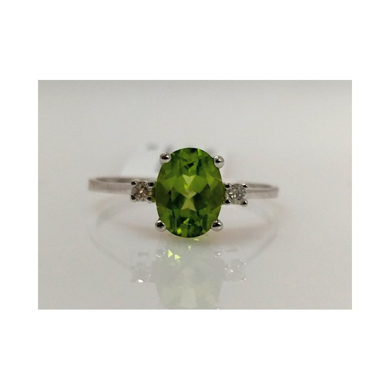 Showcase Collection Peridot Ring with Diamond Accents