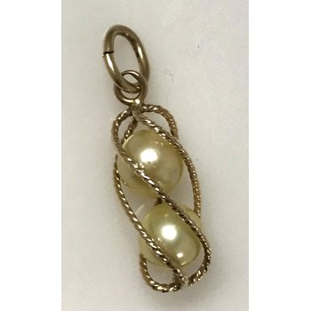 10KY Caged Pearl Pendant