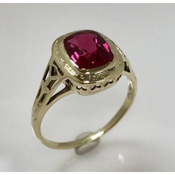 Synthetic Bezel-Set Vintage Ring