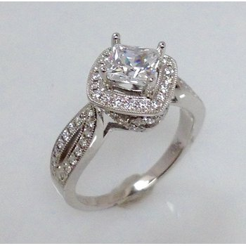14KW Semi Set Halo Engagement Ring