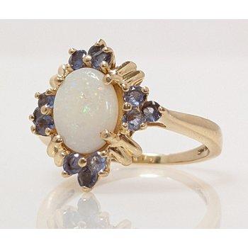 Opal and Tanzanite Ring