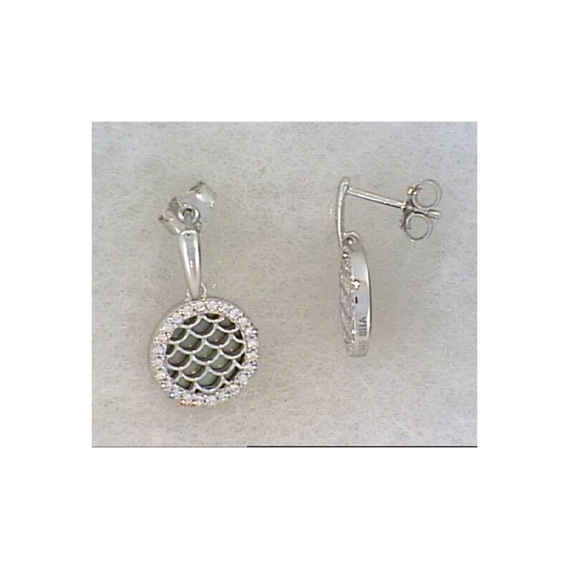 Showcase Collection Sterling Silver Black Mother of Pearl Drop Earrings