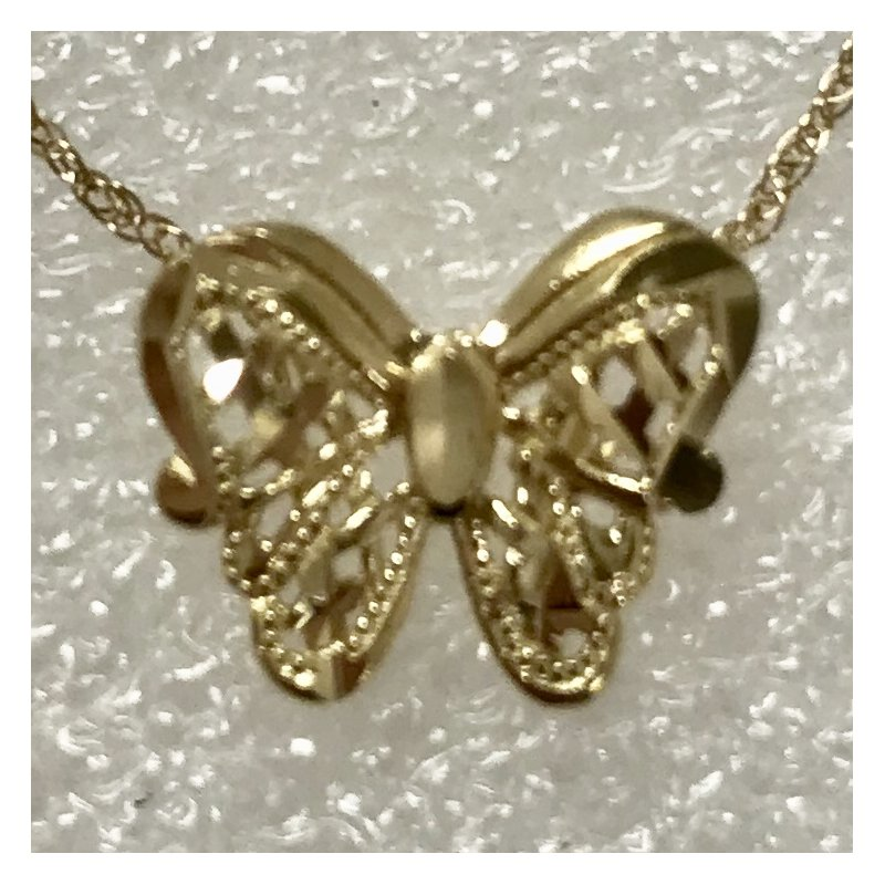 "Estate Specials 14k Butterfly slide with 18"" chain"