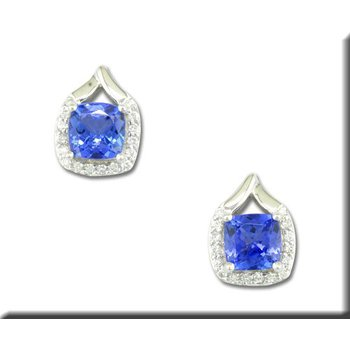 14K WG Tanzanite and Diamond Stud Earrings, GJEPF107JK2WI