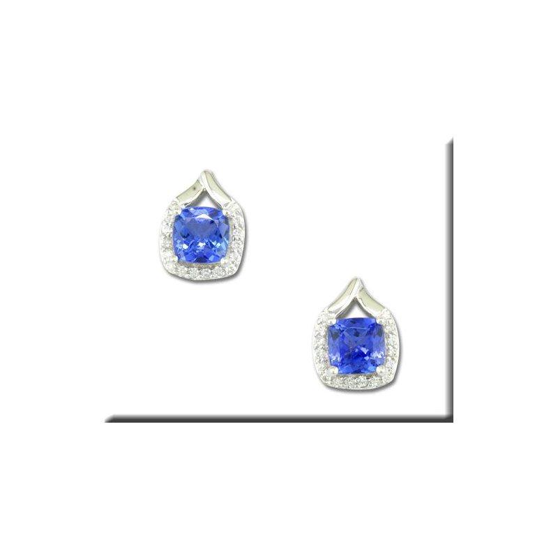 Grandis Signature 14K WG Tanzanite and Diamond Stud Earrings, GJEPF107JK2WI